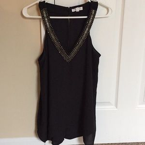 JEWELED SHEER OPEN-BACK TOP